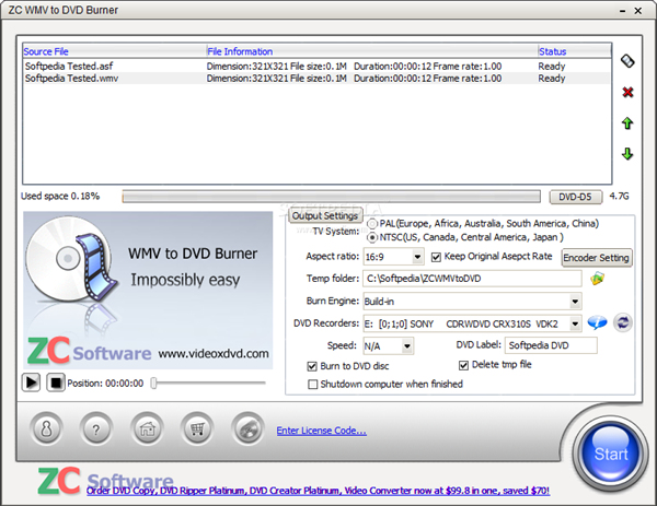ZC WMV to DVD Burner 6.59