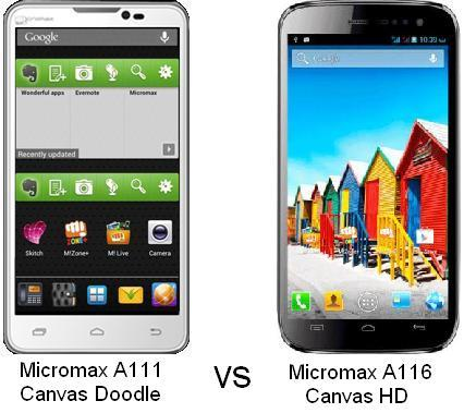 MICROMAX A111 CANVAS DOODLE vs A116 CANVAS HD