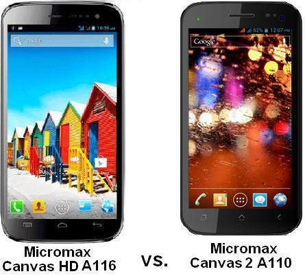MICROMAX CANVAS HD A116 vs MICROMAX CANVAS 2