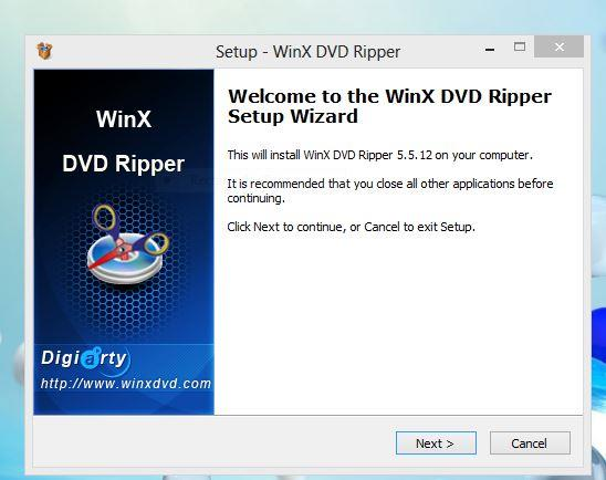 Setup Wizard to install WinX DVD ripper