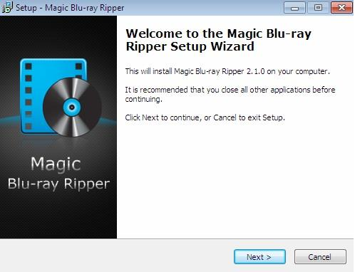 Installation screen - 1 of Magic Blu ray Ripper Set up