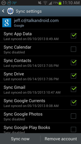 Sync settings new one