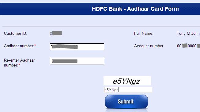 How to link Aadhaar number online with HDFC Bank