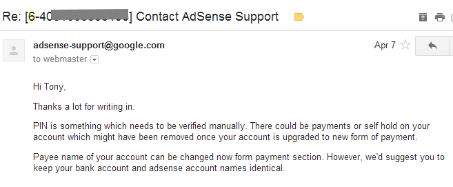 Change AdSense payee name for Indian publishers
