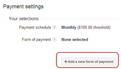 Add wire transfer to AdSense