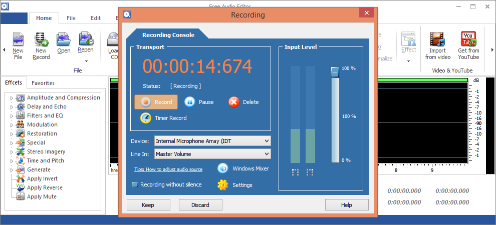 Recording voice with Free Audio Editor 2014