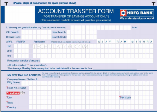 HDFC Bank Account Transfer Form