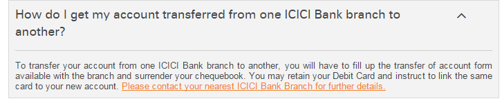 ICICI Account Transfer Form