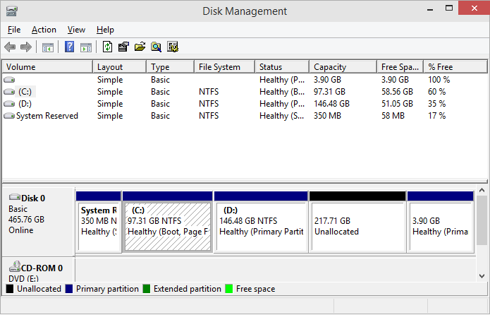 Disk Management unallocated space