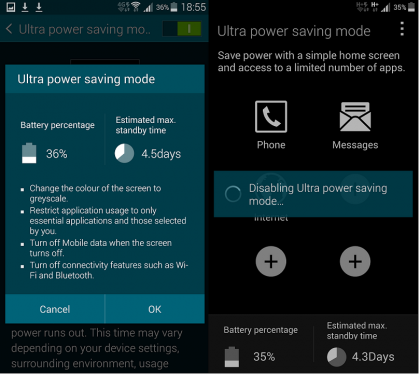Samsung Galaxy S5 power saving mode