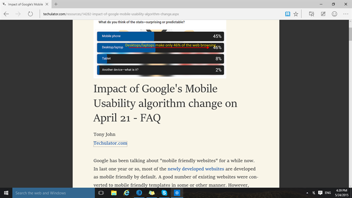 Reading View in Edge