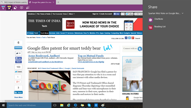 Share Web Note pages from Edge browser