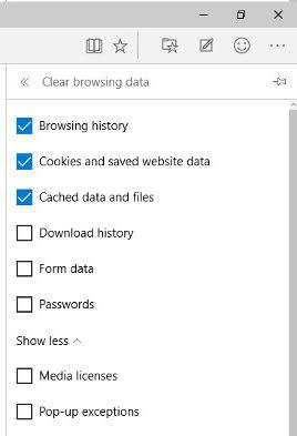 Clearing browsing history on Microsoft Edge