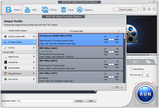 WinX HD Video Converter Deluxe Output Formats