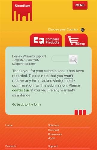 Strontium Products Warranty Registration Success Message