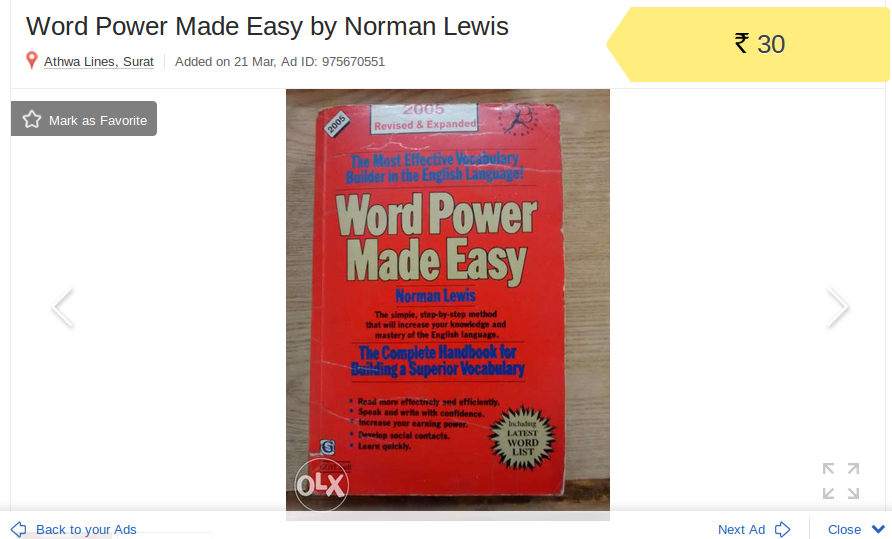 My selling experience on OLX Word powe made easy book