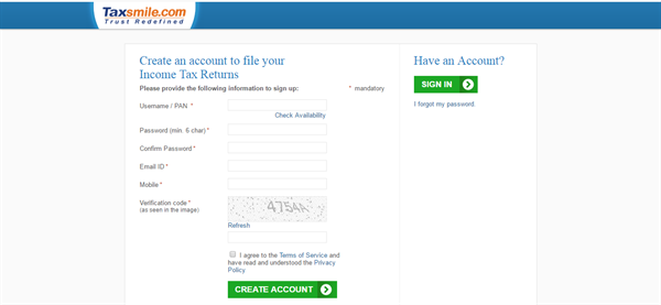 How to Register in TaxSmile to efile your income tax