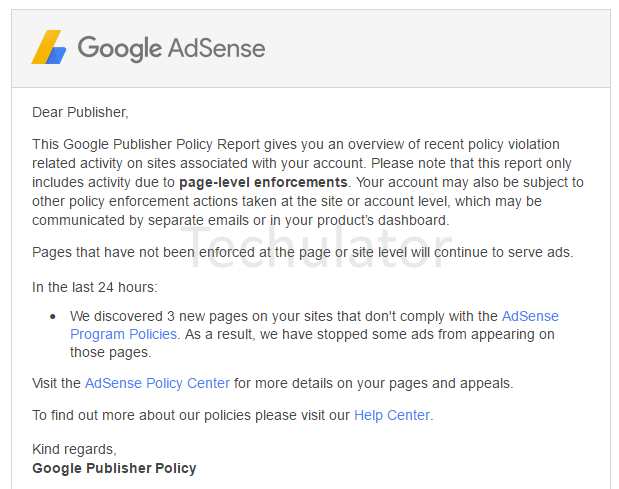 Page-level enforcements: Your AdSense Publisher Policy Violation Report