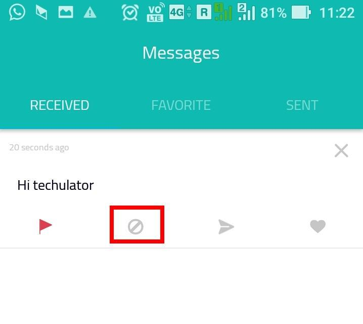 Block senders on Sarahah