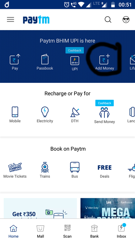 Paytm homescreen Add money