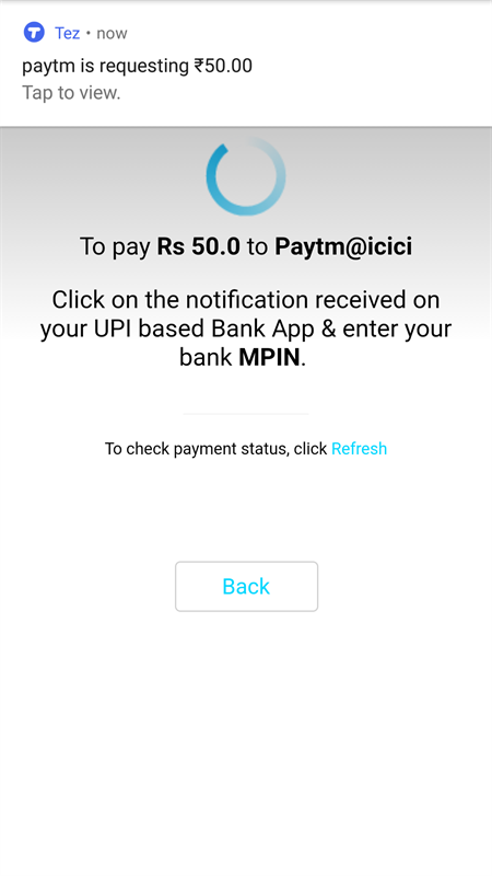 Tez notification for payment