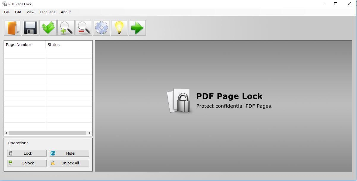PDF Page Lock initial screen