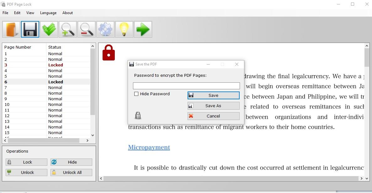 PDF Page Lock save files