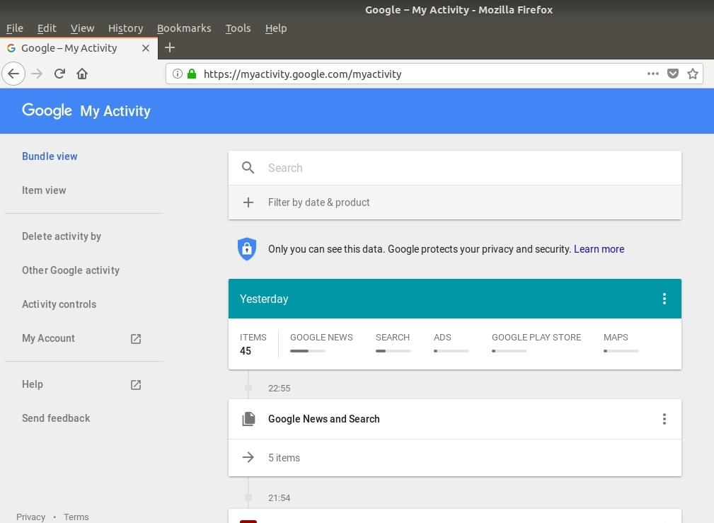 Google MyActivity homepage