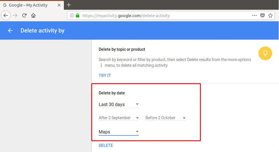 Delete Google Map activity by date range