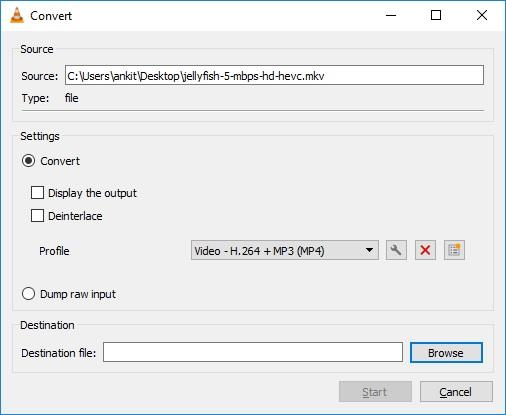 Select output format video conversion vlc