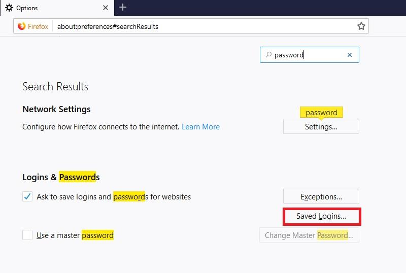 Saved logins in Firefox