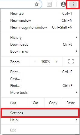 Settings Menu in Google Chrome