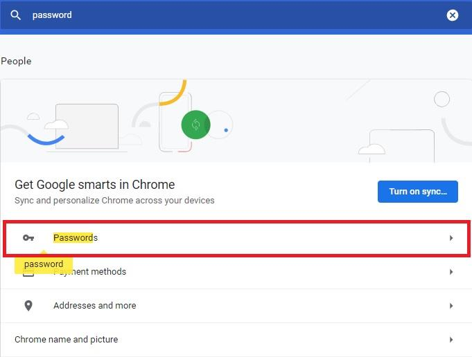 Passwords in Google Chrome Settings