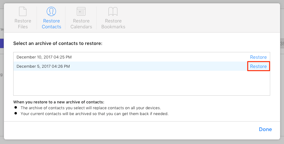 Choose an archive of contacts to restore the contacts from iCloud