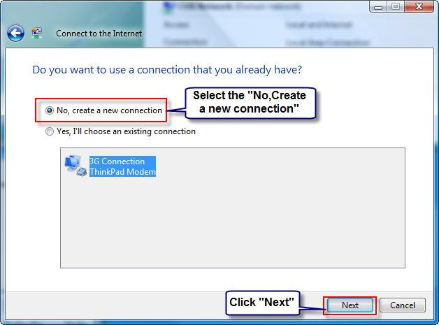 Select the New connection than existing connection