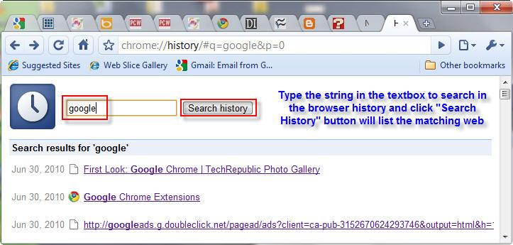 Google Chrome Browse history