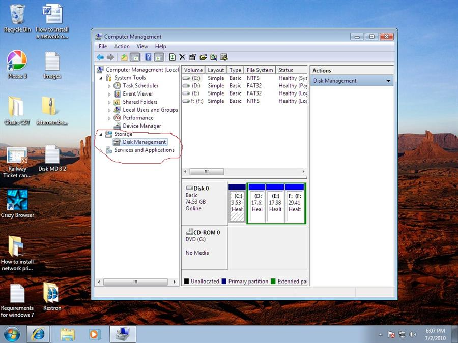Screen shot of creating a new partition in windows 7