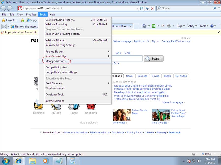 Screen shot of starting internet explorer without add-ons in windows 7