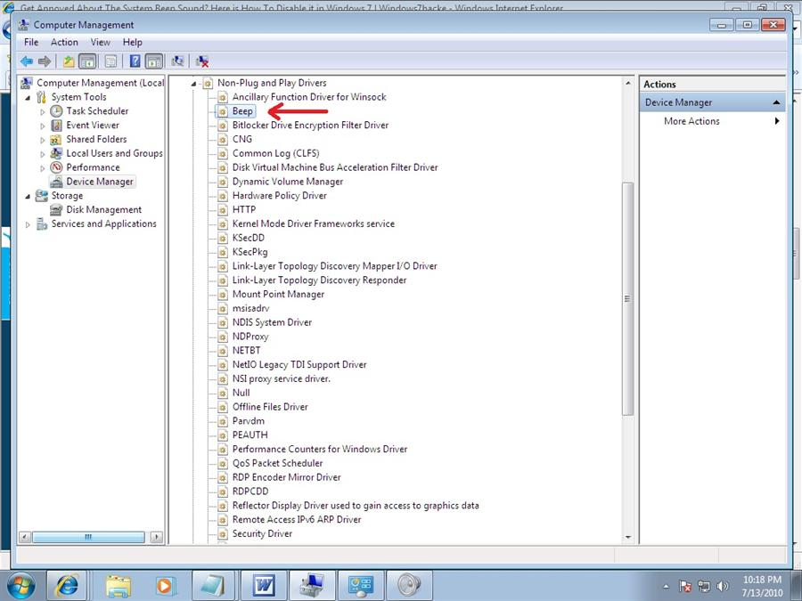 Screen shot of ddisabling system beep sound in windows 7