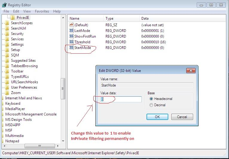 Screen shot of changing registry key value for turning on InPrivate filtering in IE8 in Windows 7
