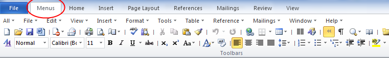 Classic menu for MS Word and Office 2010