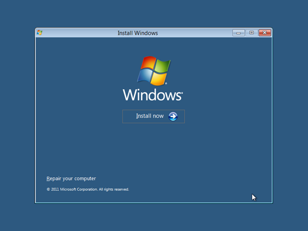 Start Windows 8 setup