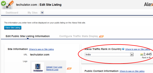 Alexa Traffic Rank - Choose Country