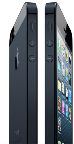 The side view of iPhone 5 displaying the thinner size