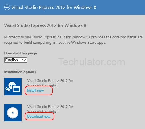 Download Visual studio 2012 Express for Windows 8