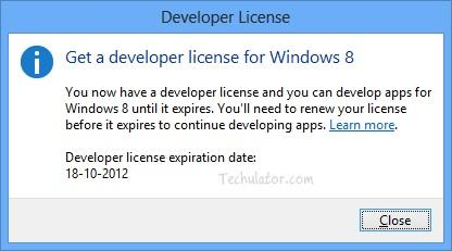 Developer license for Windows 8 Apps