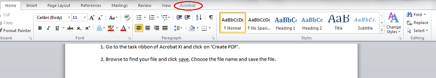 Acrobat button on MS Office task ribbon