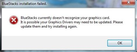 BlueStacks currently doesnt recognize your graphics card