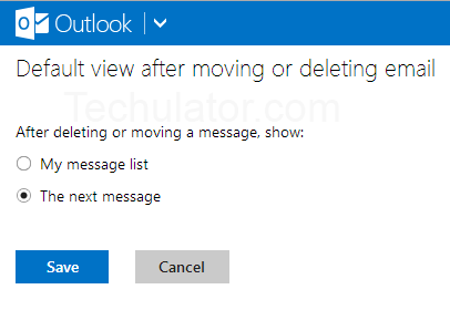 Outlook Default View after deleting mails