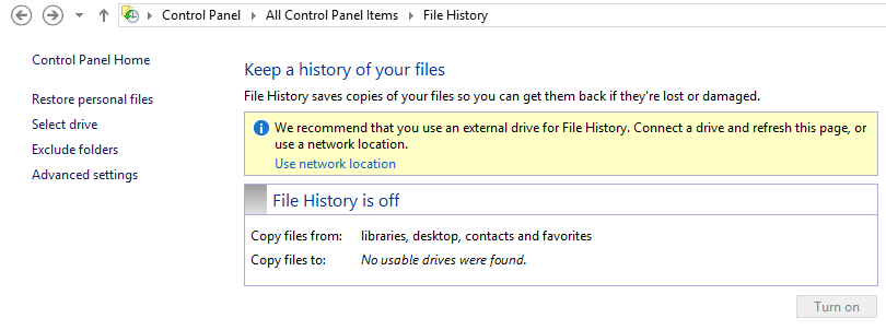 How to restore overwritten or deleted files, photos in Windows 8 using file history?